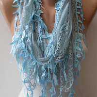 Lace Scarf in Light Blue -  with Trim Edge