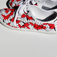 Made to Order - Handpainted- Elephant Print- Red Black White Canvas Shoes Size 6-11