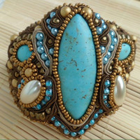 Marrakech. Handmade, soutache bracelet. Turquoise, shades of brown, gold, beige, copper.