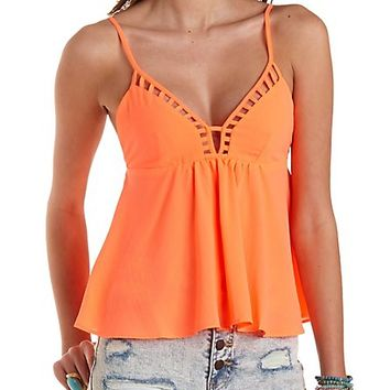 Strappy Cut-Out Swing Tank Top by Charlotte Russe  Neon Coral