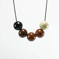 Geometric Round Beads Necklace - Earth tones Bubble Handmade Necklace - Brown, Caramel Brown, Beige, Black - Autumn Winter Fashion