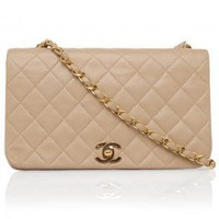 Boutique 1 - CHANEL REWIND - Beige Medium Quilted Shoulder Bag | Boutique1.com