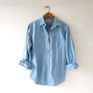 vintage button up jean shirt. washed out denim shirt. light wash denim pocket shirt. button down…