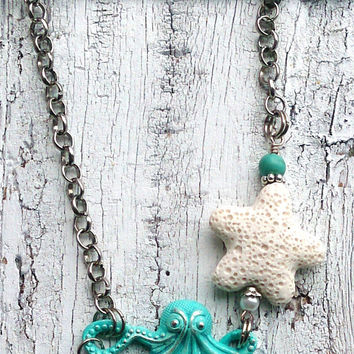 Octopus Necklace Turquoise necklace Starfish NECKLACE Beach Jewelry