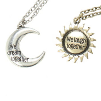 LOVEsick We Dream We Laugh Best Friend Necklace Set