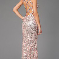 Sleeveless V-Neck Sequin Primavera Dress