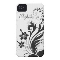 Personalized Black White Floral iPhone 4 Case from Zazzle.com