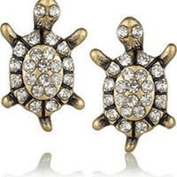 Brass and crystal turtle stud earrings