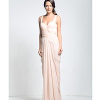 Mignon Petal Pink Lace Draped Gown Prom 2015