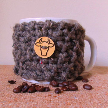 Coffee Mug Cozy, Brown Tweed, Wool Blend, Handmade, Cow, Steer Wood Button