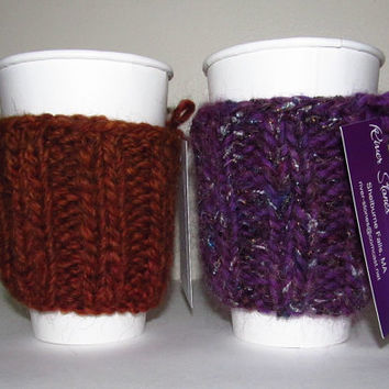 His and Hers Coffee Cozies, Alpaca, Wool, Mohair, Brown, Purple, Handmade