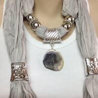 grey jewelry scarf long light grey jewelry scarf with natural real gemstone Christmas gift or for you NEW SEASON
