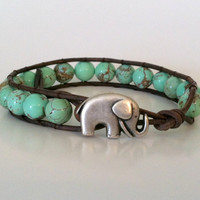 Elephant Leather Wrap Bracelet, Green Magnesite Wrap Bracelet, Stackable, Good Luck Elephant Button