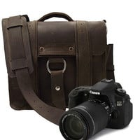 Safari Camera Bag  - Brown  - Thick Full Grain Leather - Padded Camera Insert Divider - Padded Bottom - Made in the U.S.A. - Water Resistan