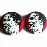 Barack Obama red black and white extra large button earrings