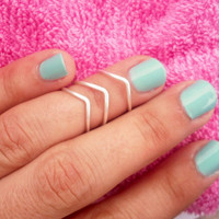 Our 3 Chevron Above The Knuckle Ring - Silver Chevron Knuckle Rings - Set of 3 by Tiny Box