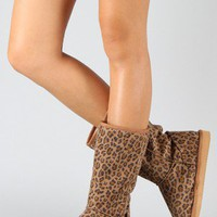 Miss Me Cupcake-3E Leopard Round Toe Mid Calf Boot