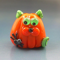 Pumpkin the Kitty Cat with Spider Handmade Lampwork Halloween Flat Kitten Glass Focal Bead SRA Gelly