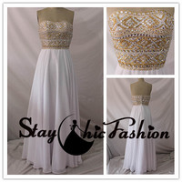 Gold Silver Rhinestone Beaded Top White Long Strapless Chiffon Evening Gown Prom Dress