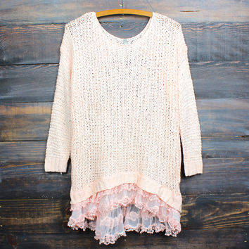 all eyes on me lace trim sweater tunic - peach - peach /