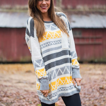 In The Alps Sweater, Yellow/Gray