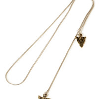 Etched Arrow Lariat Necklace