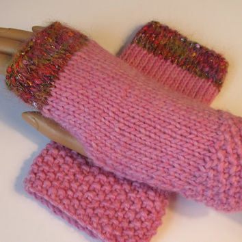 Cotton Candy Pink Alpaca Blend Fingerless Texting Mittens, Gloves, Mohair Bling Trim, Handmade