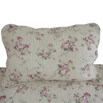Rose Embroidered Quilted Pillowsham
