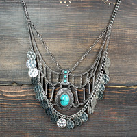 bohemian silver & turquoise necklace
