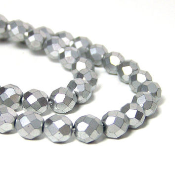 Metallic silver glass beads, matte finish 8mm faceted round, full strand (675G)