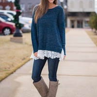 All About That Lace Sweater, Navy