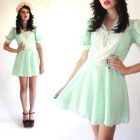 Vintage 70s Mint Green Corset Lace Bib Mini Dress