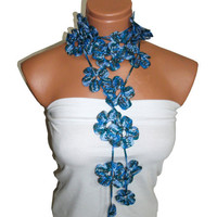 Handmade crochet Blue Lariat Scarf. Fashion Flower Scarves, Necklace...