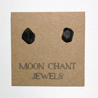 Raw Brown Zircon Natural Crystal Stone Stud Earring Posts - Hypoallergenic Surgical Steel Posts/Backs - Handmade - One of a Kind