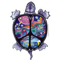Turtle Peace 2-Sided Window Sticker on sale for &amp;#36;3.95 at Hippie Shop