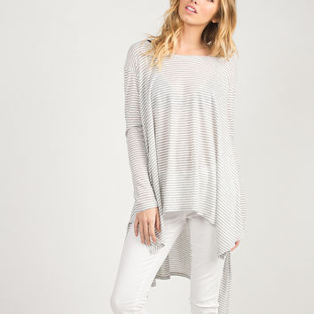 Oversized Asymmetrical Striped Top - Gray /