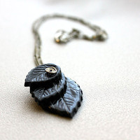 Three Charcoal Leaves with Spiral Pendant on Chain