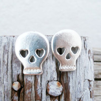 Halloween Silver skull Earrings- Sterling silver sugarskull earrings