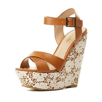 Lace-Covered Platform Wedge Sandals by Charlotte Russe - Tan