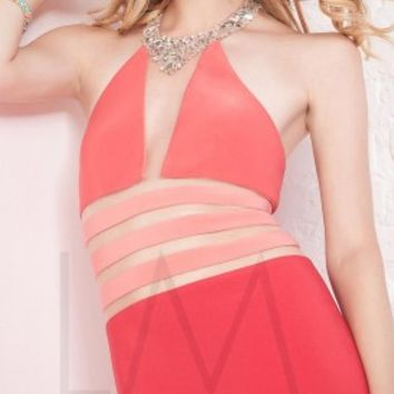 Jeweled necklace prom dresses by LM Collection