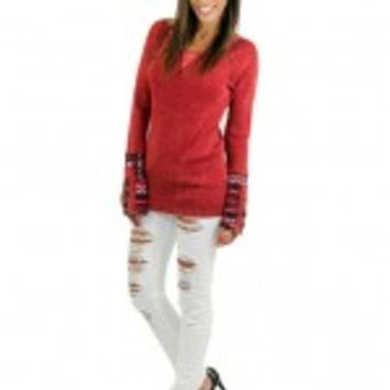 Red Top With Printed Sleeves