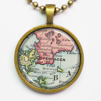 Customizable Map Necklace - Copenhagen, Denmark -Vintage Map Series