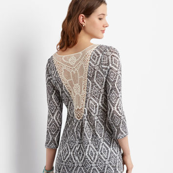 Aeropostale  3/4 Sleeve Sheer Southwestern Crochet-Back Top