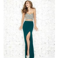 Madison James Pine Green Beaded Bodice Illusion Two Piece  Prom 2015