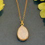 10% off - White Druzy Quartz Vermeil Gold bezel set necklace - Large Gemstone necklace