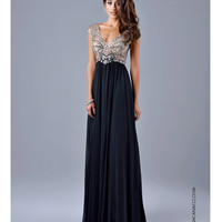 Preorder - Nina Canacci 8051 Black Sheer Embellished Bodice Gown 2015 Prom Dresses
