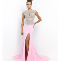 Blush Prom Carnation Pink Beaded Illusion Open Back Gown  Prom 2015