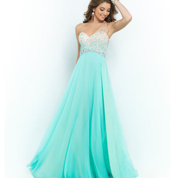 Blush Prom Sea Glass Green Beaded Ombre One Shoulder Open