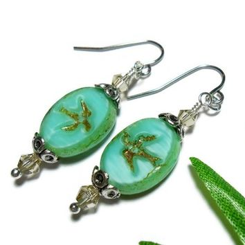 Beaded Earrings Czech Picasso Crystal Turquoise Bird Handmade Jewelry