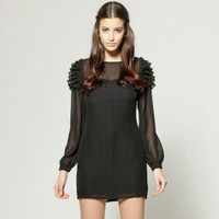 TS Black Long Sleeve Ruffle Shoulder Cocktail Dress - US$ 34.99